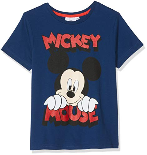 Disney Mickey Mouse \ Smiling Face\ Camiseta, Azul (Navy), 5-6 años p
