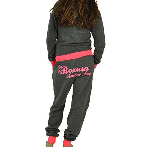Damen Jogging-Anzug | Boxusa Power Design | Trainingsanzug | Trainings-Jacke mit Reißverschluss | Jogginghose mit Tunnelzug und Zugband | Sport-Anzug mit Rippstrickbündchen Freizeitanzug | S-XXL Boxusa Anthrazit Pink