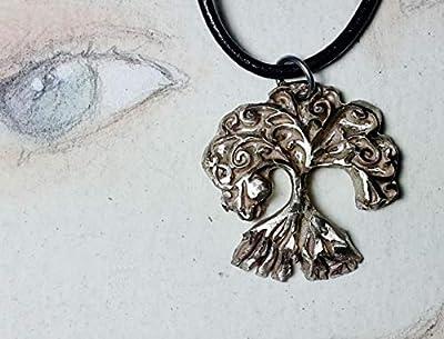 Pendentif unisexe, bijou celtique/druidique/viking/wicca/breton, Ygdrasil/Yggdrasil, arbre de vie celte,bronze couleur argent,cuir noir. aussi en bronze-or ou en cuivre