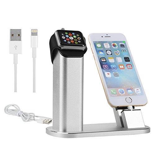 NexGadget 2 in 1 Premium Aluminium Ladestation,Stand für Iwatch und Iphone,Halterung für Apple Watch und Iphone,Desktop-Ständer, Halterung für iWatch und iphone7 7plus iPhone 6 Plus, iPhone 6s Plus, iPhone 6, iPhone 6s , iPhone 5, iPhone5s
