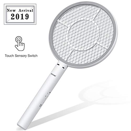 CYOUH Elektrische Fliegenklatsche Fliegenfänger mit USB wiederaufladbar Trampa de abeja-Doppelte Schichten Mesh Schutz (Grau)
