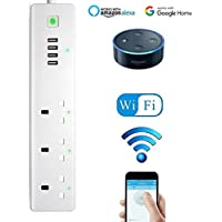 Wifi Smart Power Strip, TopHomer Surge Protector Multi Plug Sockets with 3 AC Outlets 4 USB Port Voice Controlled by Amazon Echo Alexa Google Home Timer via Android iOS Smartphone Tablets
