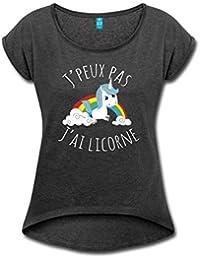 J'Peux Pas J'Ai Licorne Arc-En-Ciel T-shirt Femme à manches retroussées de Spreadshirt®