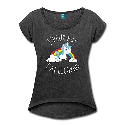 J'Peux Pas J'Ai Licorne Arc En Ciel T-shirt Femme à manches retroussées de Spreadshirt®, XL, noir chiné