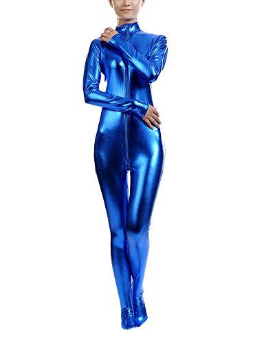 Ganzkörperanzug Anzug Suit Kostüm Shiny Ganzkörperanzug Kostüm Dunkelblau XXL
