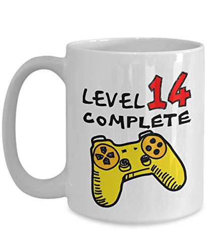 Funny Coffee Mugs 11 OZ - 14th Birthday for Boys - Level 14 Complete Video Gamer - 14 Years Old Girls Gifts - 14th Birthday Gifts For Her, Girls, Boys, Teen Sister Daughter For Christmas - Ceramic