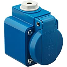 Mennekes 101700002 Bases Schuko 16 A / 230 V, Tomas de Corriente, IP 44 Grado de Protección, Azul