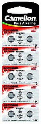 Alkaline-Knopfzelle CAMELION AG7 1,5V, 10er-Blister