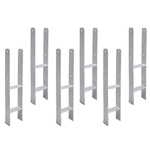 Hengda 101MM 6 Stück Pfostenträger Pfosten H-anker Feuerverzinkt Langlebig Vierkantholzpfosten für Pfosten 10x10cm