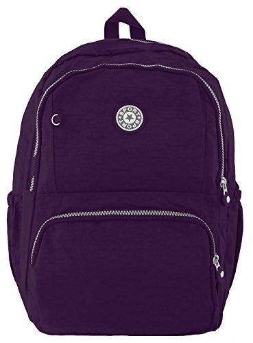 Kukubird multiplo Zip & tasca leggero zaino zaino durevole Purple
