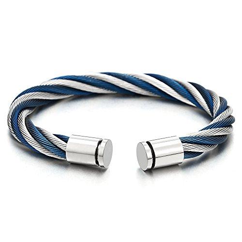 Elástica Ajustable Grande Brazalete, Pulsera de Hombre Mujer, Acero Inoxidable, Cable de Acero Azul Plata Dos Tonos