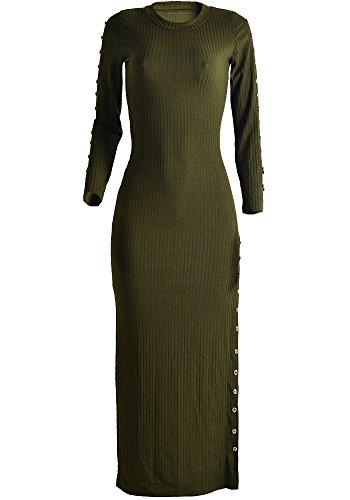 Vestito Maglione Donne Manica Lunga Maglione Lavorato a Maglia Vestiti Esercito Verde