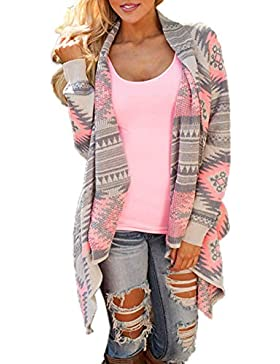 JackenLOVE Otoño Cárdigans Primavera Mujer Moda Impresión Tejer Suéter Cardigan Outerwear Sweater Tops Coat Casual...