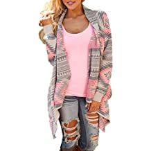 JackenLOVE Otoño Cárdigans Primavera Mujer Moda Impresión Tejer Suéter Cardigan Outerwear Sweater Tops Coat Casual Manga