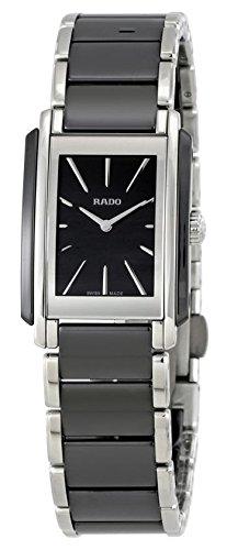 Rado Femme Bracelet en acier et coque Suisse à quartz Cadran noir analogique montre R20223152