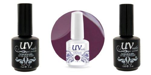 UV-Nails Vernis a Ongles Soak-Off Gel 15ml Midnight Mauve G31+Base & Top Coat+Polissoir & Lime a Ongles Aviva