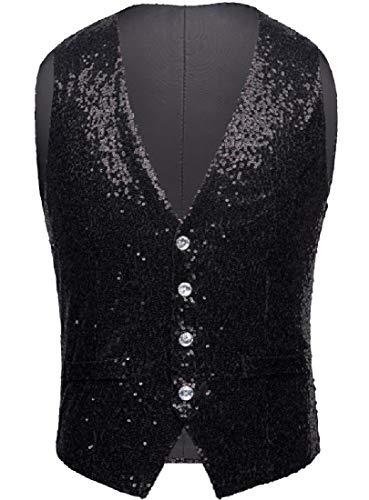 CuteRose Men's Deluxe Sequin Glitter Button Down Waistcoat for Show Black 2XL
