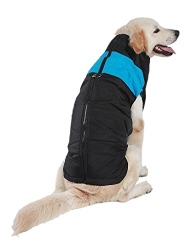 SUPEREX® Pet Dog Coat Jacket Bekleidung Warm Haustier Jacke Hundepullover Hundemantel wasserdicht Winterjacke,Regenmantel Hund Hundebekleidung Hundejacke Wintermantel gepolstert für mittelgroße große Hunde (Blau, XL)