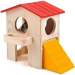 UEETEK Jaula de la casa de la cama del hámster de madera, juguete del chalet de la capa dual para el hámster enano del ratón de la rata del animal doméstico