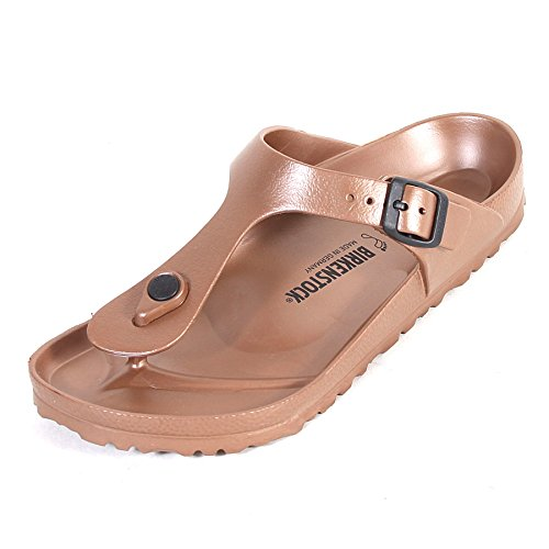 BIRKENSTOCK Women's Gizeh Eva Toe Post Buckle Sandal Metallic Copper Size 7 Damen Post