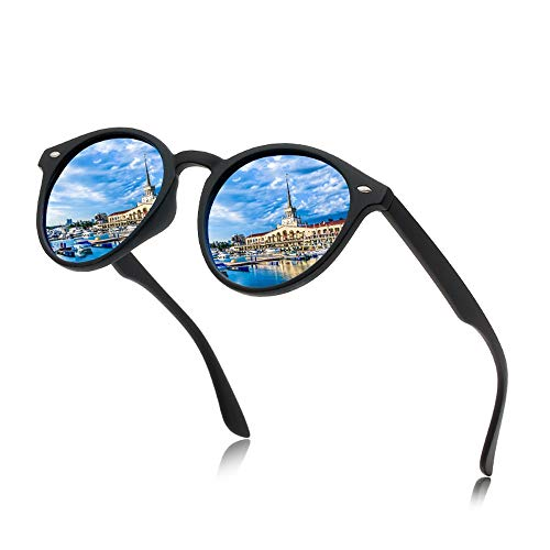 WULE-RYP Polarisierte Sonnenbrille mit UV-Schutz Herren Herren Polarisierte Sport Sonnenbrille Runde Retro Sonnenbrille. Superleichtes Rahmen-Fischen, das Golf fährt (Farbe : Blau)