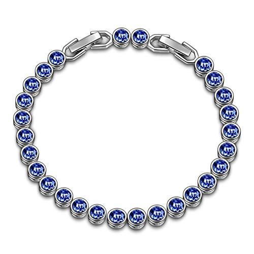 Susan Y cadeau de noel tennis bracelet femme avec cristaux swarovski bleu bijoux pour elle filles cadeau femme cadeau grand mere idee cadeau ado fille bracelet cadeau noel femme bracelet(Saphir clair)