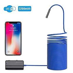 DEPSTECH WiFi Endoskop, Endoskopkamera,1200P Halbstarre kabellose Inspektionskamera 2.0 Megapixel 2200mAh Akku-Schlangenkamera Brennweite 40cm für Android,IOS,iPhone,Smartphone,Tablet - Blau (10M)