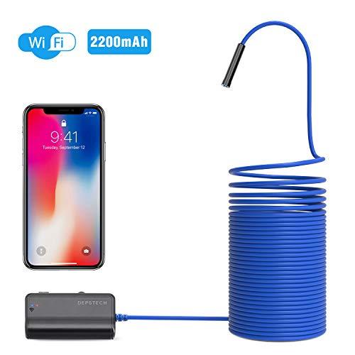 Depstech Endoskop,WiFi Endoskopkamera,1200P Halbstarre kabellose Inspektionskamera 2.0 Megapixel 2200mAh Akku-Schlangenkamera Brennweite 40cm für Android,IOS,iPhone,Smartphone,Tablet - Blau (10M)