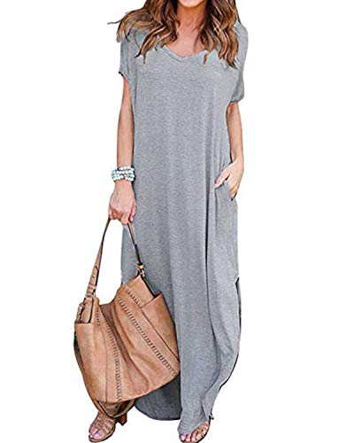 VONDA Damen V-Ausschnitt Kurzarm Strand Sommerkleid langes Abendkleid mit Tasche Grey 5XL -