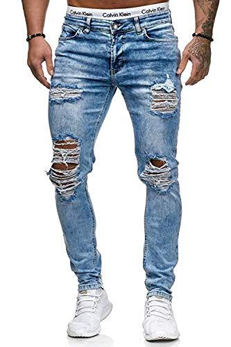 OneRedox Herren Jeans Denim Slim Fit Used Design Modell 5122 L.Blue (38/32 (Fällt eine Nummer Kleiner aus), Mehrfarbig)