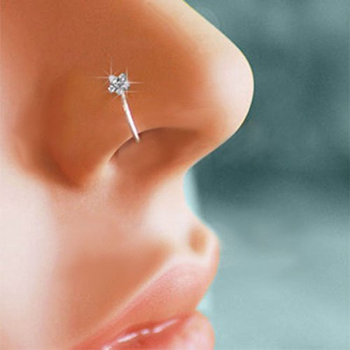 Huangiao 2Klein Dünn Blumen Kristall Klar Nase Ring Ohrstecker Hoop-Sparkly Kristall Nase Ring (Klare Nase Piercing Stud)