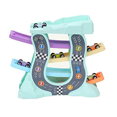 Xyanzi Kleinkindspielzeug Auto Ramp Racer, Holz Rennstrecke Ramp Racer Spiel Bunte Holz Rennstrecke Rampe Frühe Entwicklung Fahrzeug Spielset Toy-12,6