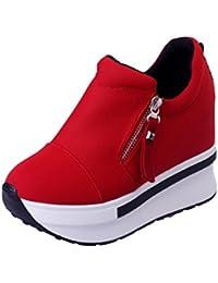 Liquidación! Cubre Covermason Botas Zapatos de plataforma Slip On Botines Zapatos casuales de moda(39 EU, rojo)