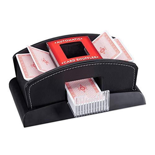 Relaxdays Kartenmischer Elektrisch, Leder, 2 Decks, Mischgerät zum Mischen von Karten, Kartenmischmaschine, schwarz