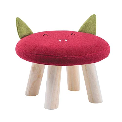 ASDAD Wooden 4 Legs Small Niedriger Hocker Sofa Cartoon Support Gepolsterter Hocker Und Abnehmbarer Waschbarer Sitzbezug Kind Erwachsener,C