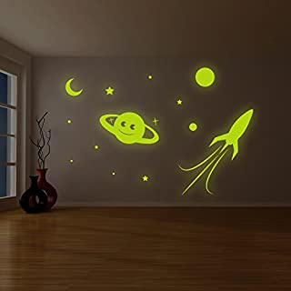 AnOL (200x136 cm) Glowing Vinyl Wall Decal Planet, Rocket, Stars/Glow in the Dark Sticker/Сrescent Luminescent Mural Kids, Baby Room + Free Decal Gift!