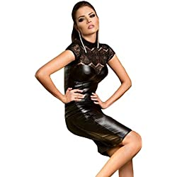 Nuevas señoras negro de piel sintética y encaje Bodycon Midi vestido Club Wear tarde vestido de fiesta tamaño M UK 10–12EU 38–40
