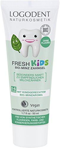 LOGODENT Naturkosmetik FRESH KIDS Bio Minz-Zahngel, Für gesunde und starke Milch- und Kinderzähne, Frei von synthetischen Fluoridzusätzen, Vegan, 3x50ml