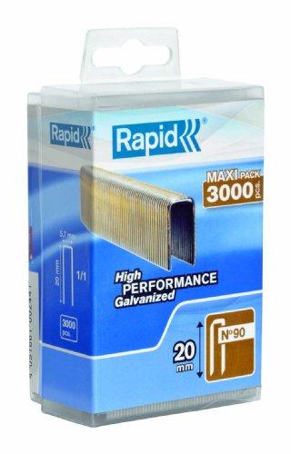 Rapid, 5000123, Agrafes N°90, Longueur 20mm, 3000 pièces, Fil galvanisé enduit de résine, Haute performance