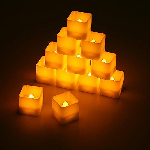 ichter quadratisch 12pcs LED Flammenlose Kerzen mit Timerfunktion Automatischer, Flackern Elektrische Kerze Lichter Dekoration für Valentinstag Ostern Hochzeit ()
