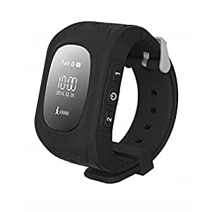 mobicell Kids Tracker Smart Wrist Watch Compatible with iBall Andi 5T Cobalt 2 with GPS & GSM System with functions ( Children Safe Security/ SOS Surveillance/Pedometer / Remote Power Off/Alarms Anti-lost for Children) - Black