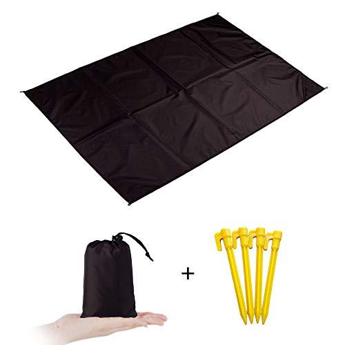 Zeeon Picknickdecke für den Außenbereich, für 2-4 Personen, 55 x 79 cm, wasserdicht, leicht, faltbar, Taschenmatte mit Taschen, Schlaufen, Stangen für Strand, Wandern, Reisen, Camping, Festivals