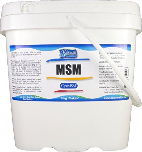 Kala Health - OptiMSM® (Methylsulfonylmethane) MSM Powder Coarse Flakes (Crystals) 5000g, pure MSM Supplement, produced in the United States of America.