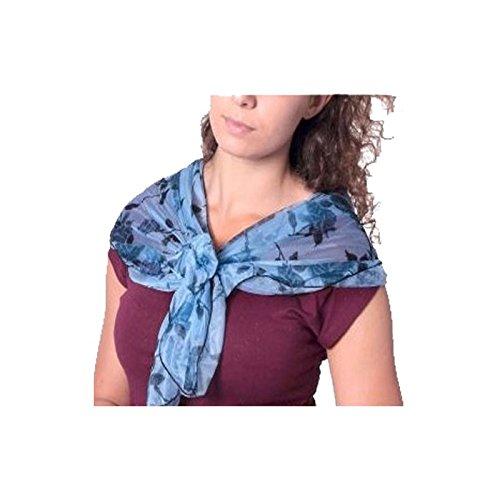 Foulard femme imprimé bleu et pré-noué