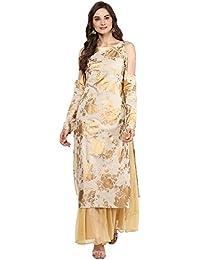 AHALYAA Women's Cotton Straight Kurti (Beige)