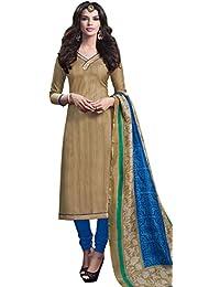 Heartily Beige Bhagalpuri Silk Straight Suit With Dupatta.