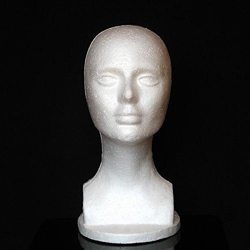 (quanjucheer weiblich Mannequin Schaumstoff Kopf Modell, für für Perücke Haar Schmuck Display Ständer Leicht)