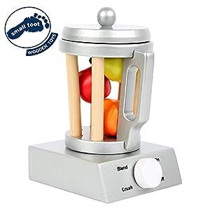 Small Foot 10596 - Batidora de Vaso, Accesorio Ideal para Cocina Infantil con Tapa extraíble, práctico asa y botón Giratorio, Incluye Frutas de Madera