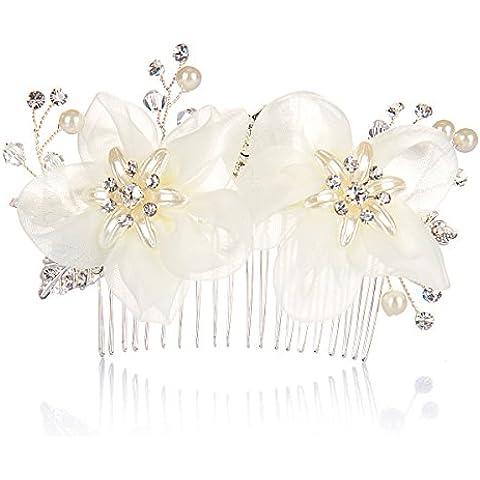 AlicePub-Pettine per capelli con fiore doppio lato per damigella d'onore,