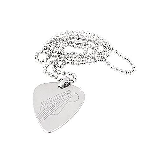 Yibuy Silver Metal Guitar Pick Necklace Pendant with Chain Neck pattern